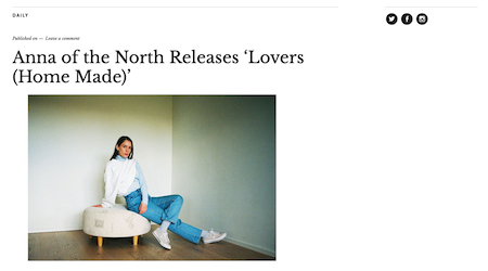 Anna of the North Releases «Lovers (Home Made)»