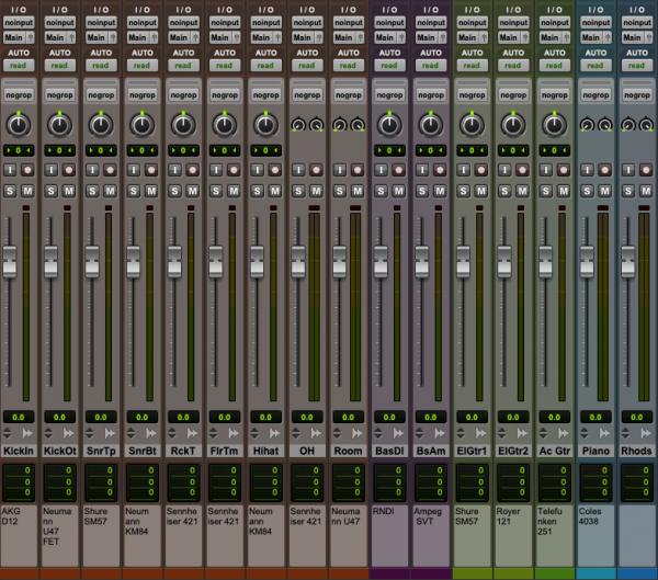 Color-code your tracks | Pro Tools screenshot | Mix Prep Guide | Mixed by Jonas Kroon – Music Mixer, Mixing Engineer, Mix Engineer | #mixedbykroon