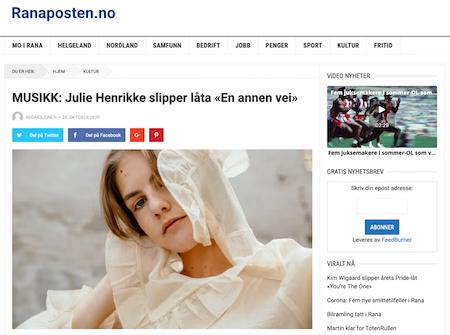 Julie Henrikke slipper låta «En Annen Vei»